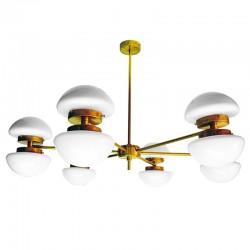Lámpara de techo, estructura de latón en acabado satinado, 12 luces, con tulipas de cristal en acabado opal brillo.