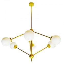 Lámpara de techo, en latón, 6 bolas de cristal opal brillo.