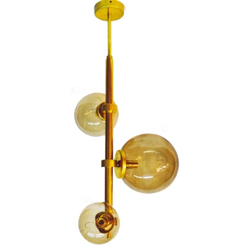 Lámpara de techo, de latón, con bolas de cristal en acabado ámbar en varias medidas, una de Ø 20 cm