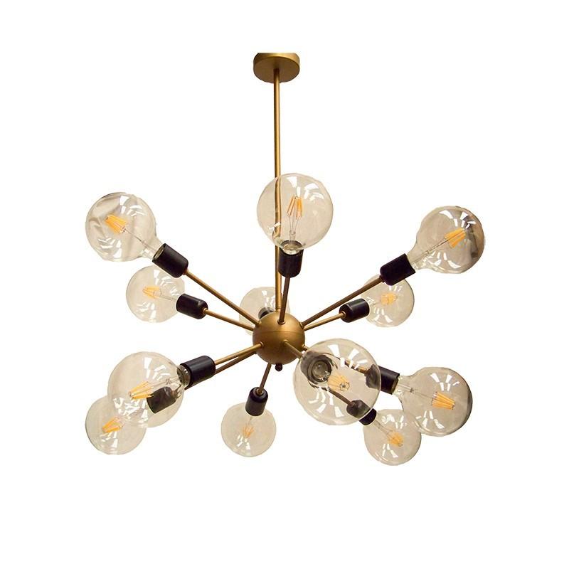 Lámpara de techo, armazón metálico en acabado dorado, con elementos en acabado negro, 12 luces, con o sin bombillas de LED.